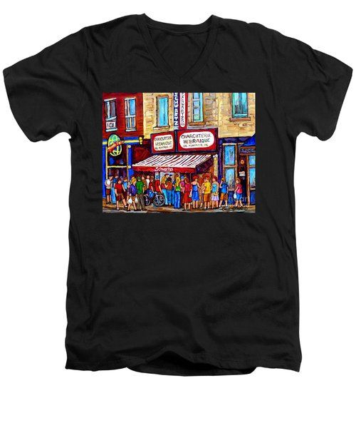 Charcuterie Hebraique Schwartz Line Up Waiting For Smoked Meat Montreal Paintings Carole Spandau     Men's V-Neck T-Shirt