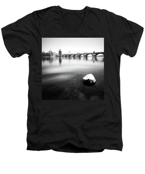 Charles Bridge During Winter Time With Frozen River, Prague, Czech Republic Men's V-Neck T-Shirt