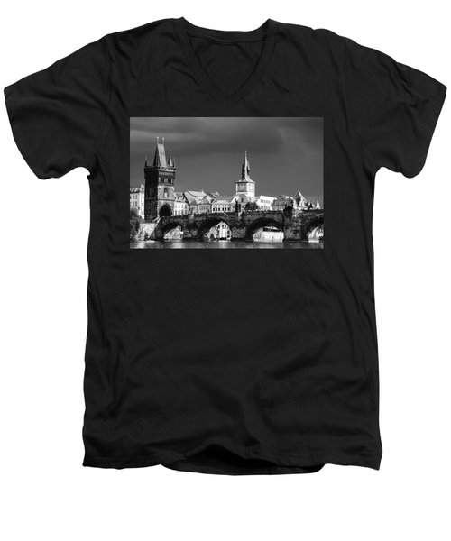 Charles Bridge Prague Czech Republic Men's V-Neck T-Shirt