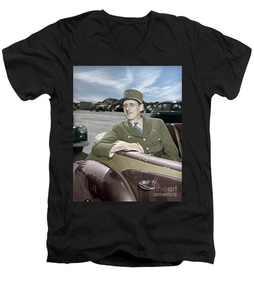 Charles De Gaulle Of France In New York Men's V-Neck T-Shirt