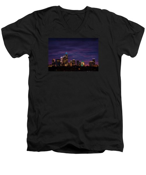 Charlotte, North Carolina Winter Sunset Men's V-Neck T-Shirt by Serge Skiba