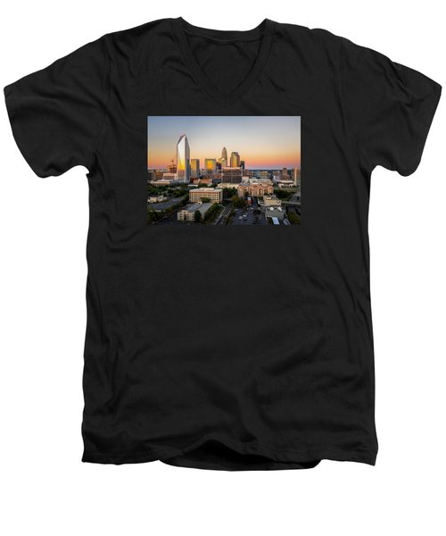 Charlotte Skyline At Sunset Men's V-Neck T-Shirt by Serge Skiba