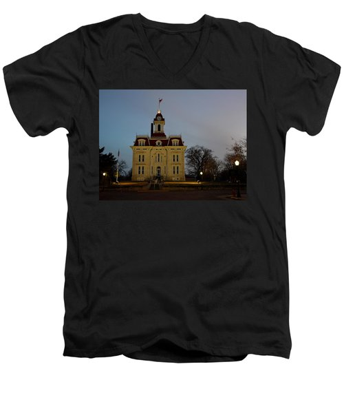 Chase County Courthouse Men's V-Neck T-Shirt by Keith Stokes