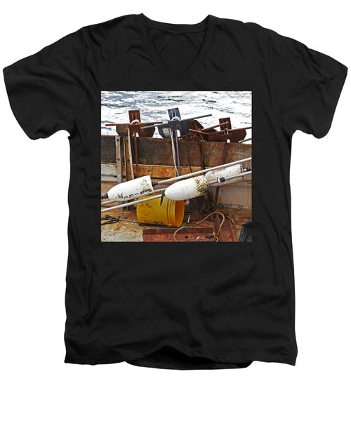 Men's V-Neck T-Shirt featuring the photograph Chatham Fishing by Charles Harden