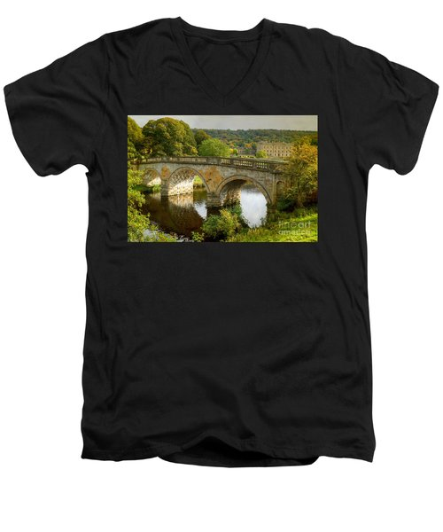 Chatsworth House And Bridge Men's V-Neck T-Shirt