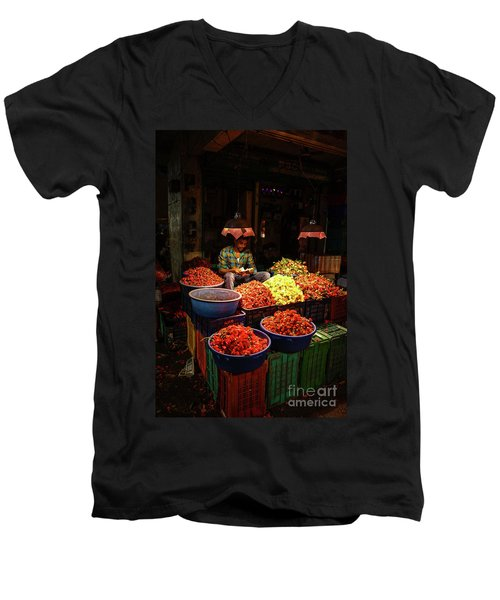 Men's V-Neck T-Shirt featuring the photograph Cheannai Flower Market Colors by Mike Reid
