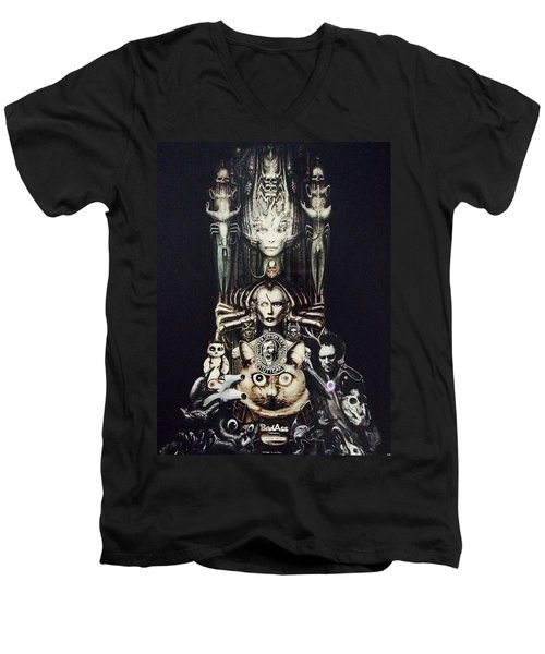 Checker Demon Men's V-Neck T-Shirt by Douglas Fromm
