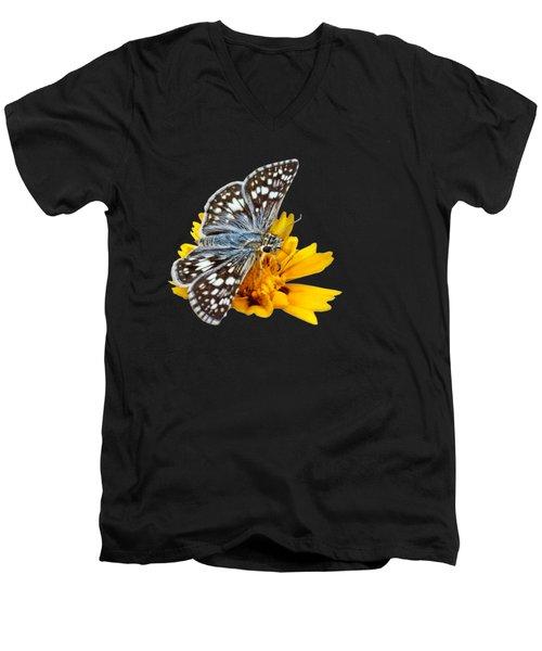 Checkered Skipper - Square - Transparent Men's V-Neck T-Shirt by Nikolyn McDonald