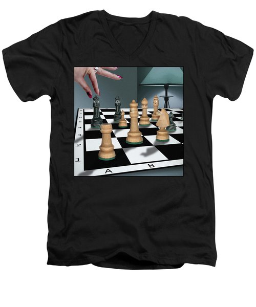 Checkmate Men's V-Neck T-Shirt by Marty Garland