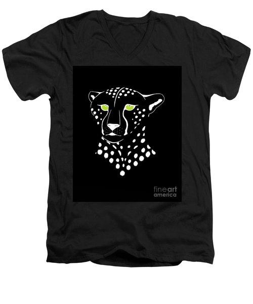Cheetah Inverted Men's V-Neck T-Shirt by Alycia Christine