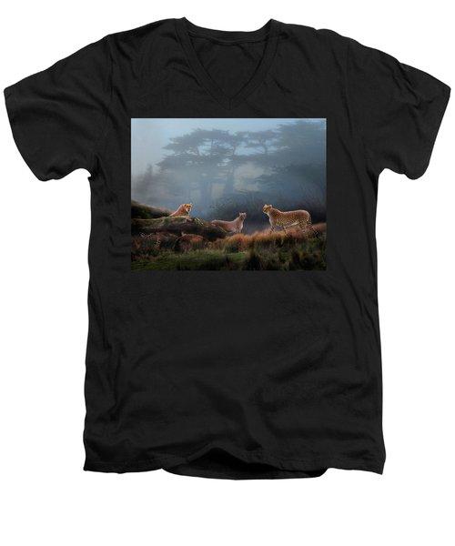 Cheetahs In The Mist Men's V-Neck T-Shirt