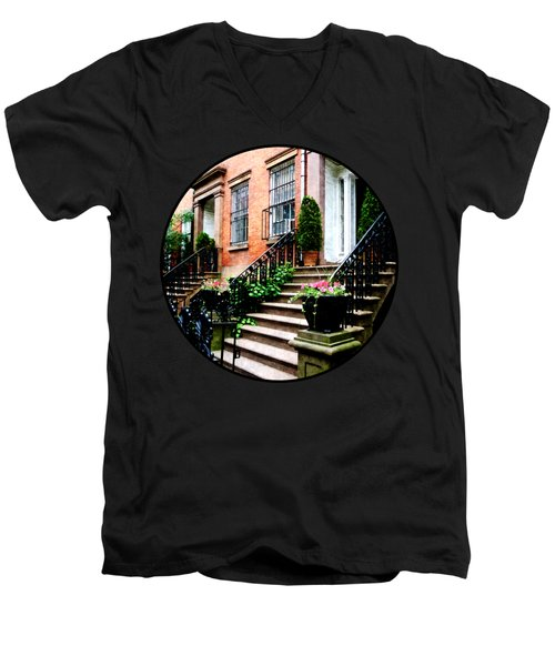 Chelsea Brownstone Men's V-Neck T-Shirt by Susan Savad