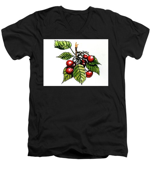 Men's V-Neck T-Shirt featuring the painting Cherries by Terry Banderas