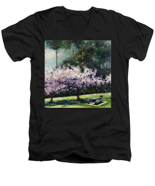 Cherry Blossoms Men's V-Neck T-Shirt by Rick Nederlof