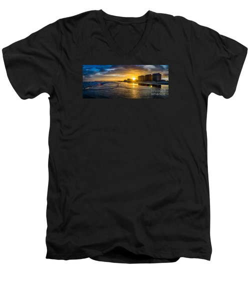 Cherry Grove Sunset Men's V-Neck T-Shirt by David Smith