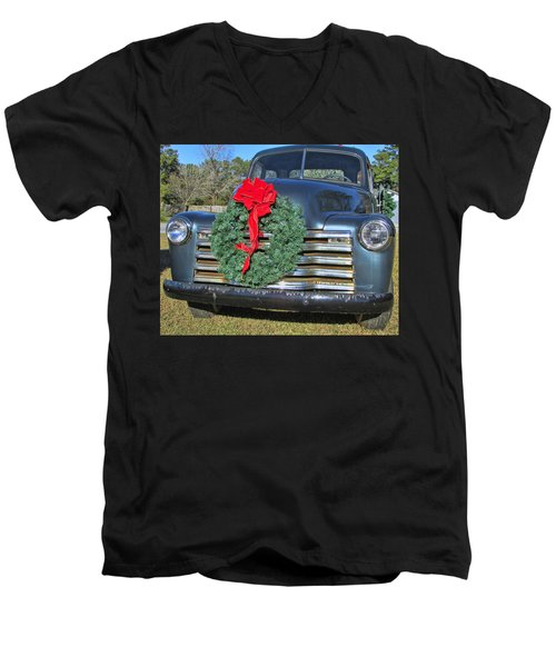 Men's V-Neck T-Shirt featuring the photograph Chevy Christmas by Victor Montgomery