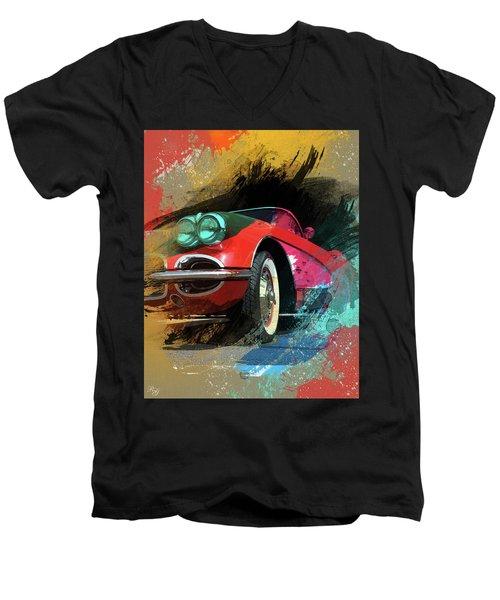 Chevy Corvette Digital Art Men's V-Neck T-Shirt by Ron Grafe
