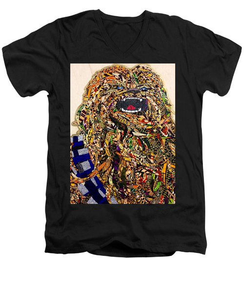 Men's V-Neck T-Shirt featuring the tapestry - textile Chewbacca Star Wars Awakens Afrofuturist Collection by Apanaki Temitayo M