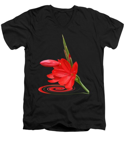 Chic - Ritzy Red Lily Men's V-Neck T-Shirt by Gill Billington