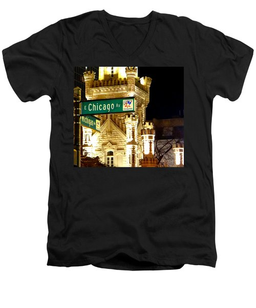 Men's V-Neck T-Shirt featuring the photograph Chicago Avenue  by Elizabeth Coats