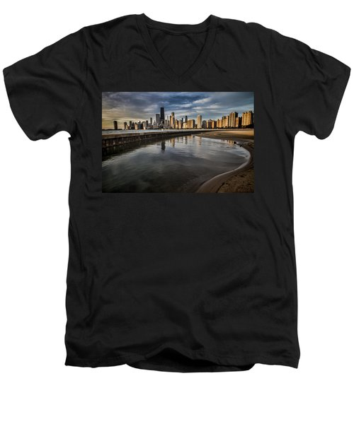 Chicago Beach And Skyline With A Person For Scale Men's V-Neck T-Shirt