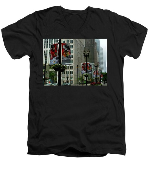 Chicago Blackhawk Flags Men's V-Neck T-Shirt