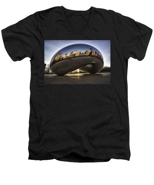 Chicago Cloud Gate At Sunrise Men's V-Neck T-Shirt