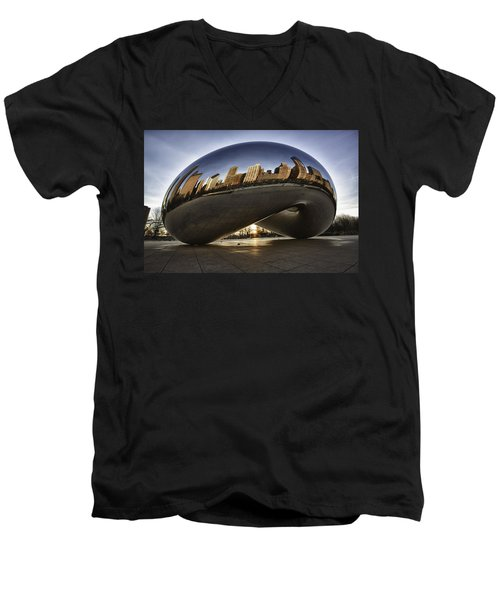 Chicago Cloud Gate At Sunrise Men's V-Neck T-Shirt