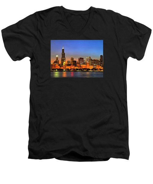 Men's V-Neck T-Shirt featuring the digital art Chicago Dusk by Charmaine Zoe