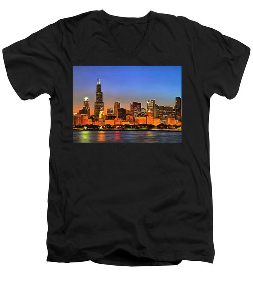 Chicago Dusk Men's V-Neck T-Shirt