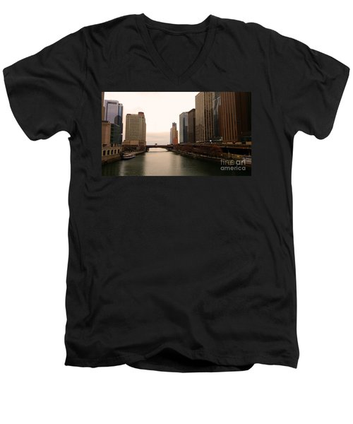 Men's V-Neck T-Shirt featuring the photograph Chicago Rive by Elizabeth Coats
