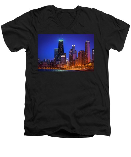 Chicago Shoreline Skyscrapers Men's V-Neck T-Shirt
