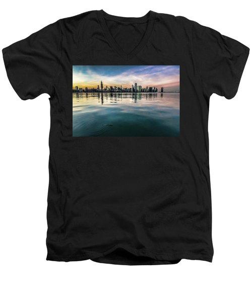 Chicago Skyline And Fish At Dusk Men's V-Neck T-Shirt