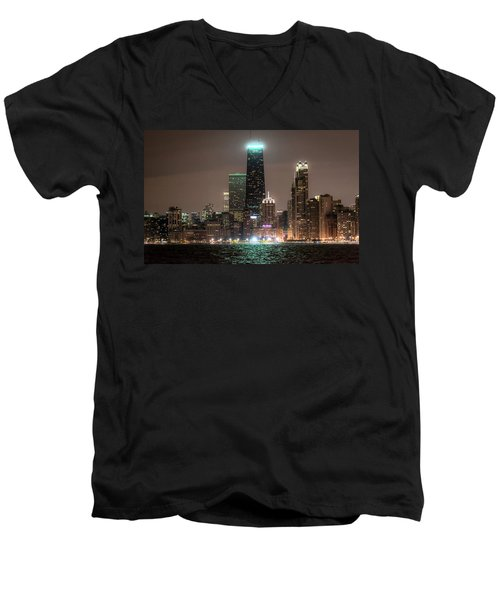 Chicago Skyline At Night North Ave Beach V2 Dsc1732 Men's V-Neck T-Shirt by Raymond Kunst