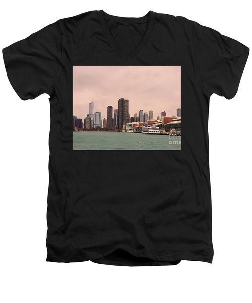 Men's V-Neck T-Shirt featuring the photograph Chicago Skyline by Elizabeth Coats