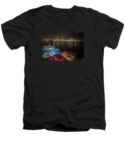 Chicago Skyline With Pixel Stick Painting Men's V-Neck T-Shirt