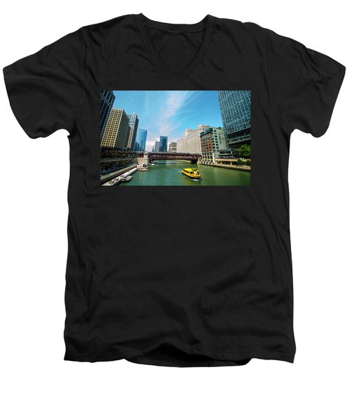 Chicago, That Toddlin' Town Men's V-Neck T-Shirt by Deborah Smolinske