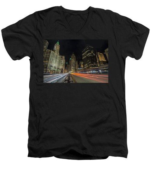Chicago's Mag Mile Night Streaks Men's V-Neck T-Shirt