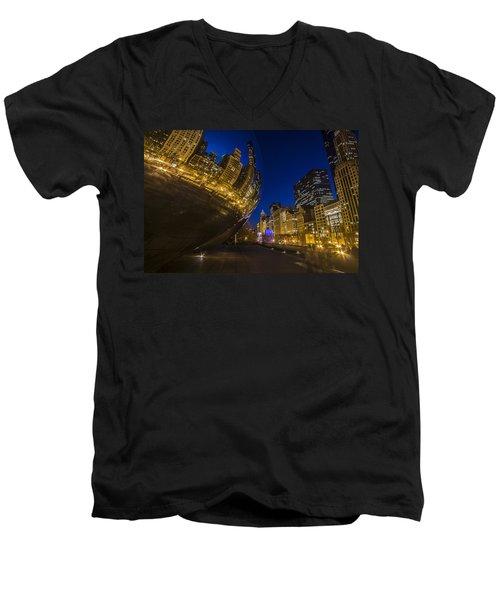 Chicago's Millenium Park At Dusk Men's V-Neck T-Shirt