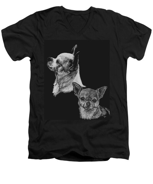 Men's V-Neck T-Shirt featuring the drawing Chihuahua by Rachel Hames