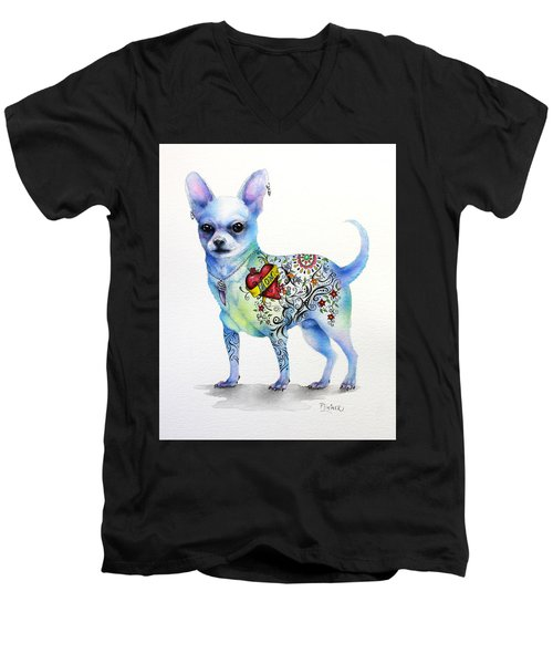 Chihuahua Topo Men's V-Neck T-Shirt by Patricia Lintner
