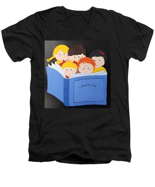 Children Reading Book Men's V-Neck T-Shirt
