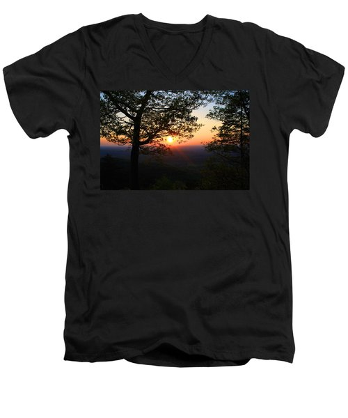 Men's V-Neck T-Shirt featuring the photograph Chilhowee Sunset by Kathryn Meyer
