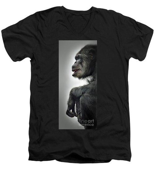 Chimpanzee Profile Vignetee Effect Men's V-Neck T-Shirt by Jim Fitzpatrick