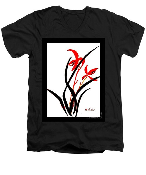 Chinese Flowers Men's V-Neck T-Shirt by Marsha Heiken