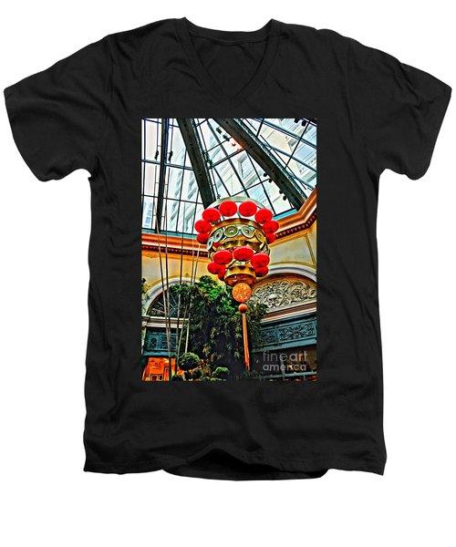 Chinese Lantern Men's V-Neck T-Shirt