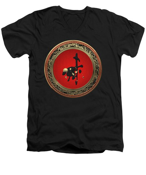 Chinese Zodiac - Year Of The Goat On Black Velvet Men's V-Neck T-Shirt