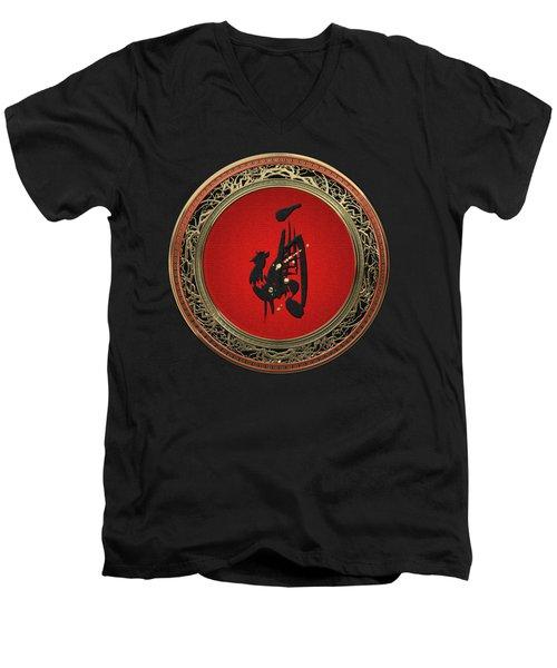 Chinese Zodiac - Year Of The Rooster On Black Velvet Men's V-Neck T-Shirt
