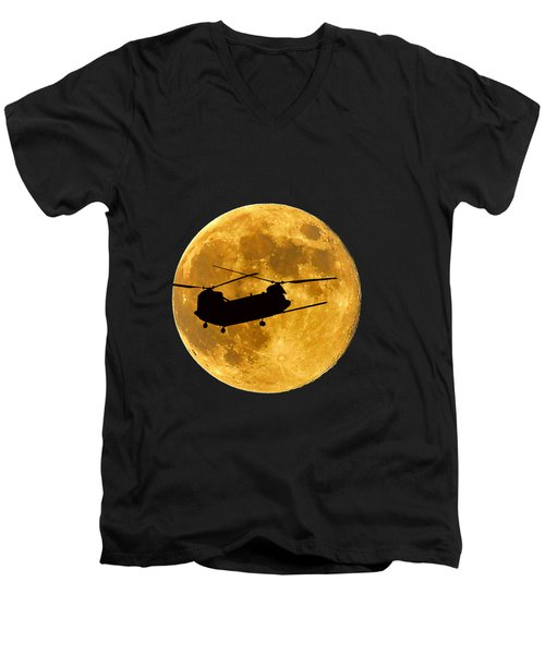 Chinook Moon Color .png Men's V-Neck T-Shirt by Al Powell Photography USA