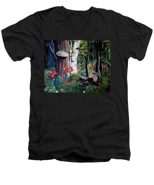 Chipmunk On A Log Men's V-Neck T-Shirt by Renate Nadi Wesley
